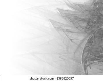 Grayscale abstract fractal background. Faded page side.