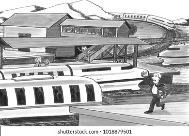 Grayscale illustration of a man and a woman on opposite platforms chasing after trains. Two trains traveling past the stations with two persons trying to catch them.