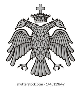 Grayscale sketch of byzantine, two headed eagle with crown. Symbol of emperors.