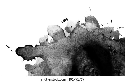 Gray-scale watercolor macro texture background. Abstract aquarelle texture black and white backdrop pictured. Paintbrush hand made technique.