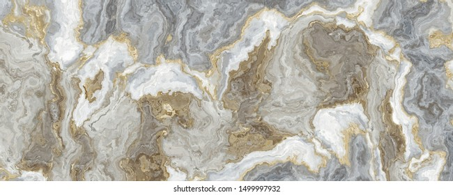 Gray-white marble pattern with golden veins. Abstract texture and background. 2D illustration