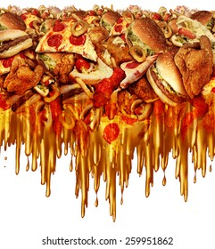 Greasy diet and unhealthy fast food concept with liquid dripping grease as onion rings burger and hot dogs and fried chicken french fries as a symbol of unhealthy dieting nutrition.