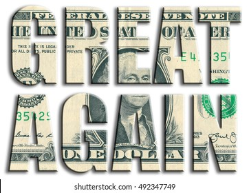 Great again. Slogan related to american election. US Dollar texture. 3D illustration.