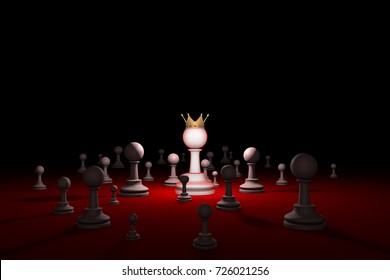 Great authority. Leader. Chess composition. Available in high-resolution and several sizes to fit the needs of your project. Background layout with free text space. 3D render