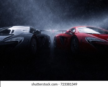 Great black and red super cars side by side in the rain - 3D Illustration