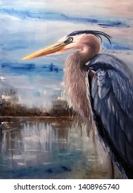 Great blue heron oil painting, modern art, oil on canvas, abstract