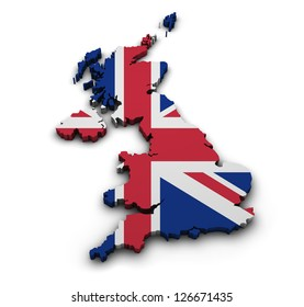Great Britain background. Shape 3d of United Kingdom map with flag isolated on white.