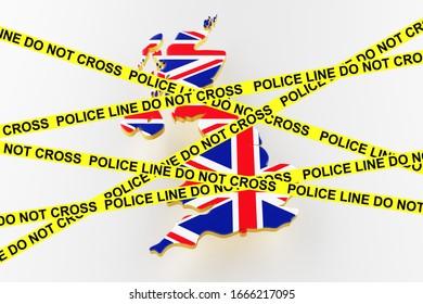 Britisches Kriminalitätskonzept, polizeiliche Ermittlungen.3D-Karte von Großbritannien. Karte von Großbritannien Landgrenze mit Flagge. 3D-Rendering