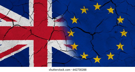 Great Britain and European Union flag together, with dried soil texture
