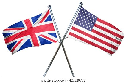Great britain flag with american flag, isolated on white backgro