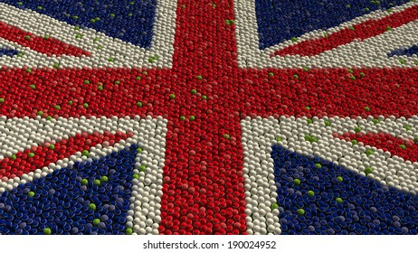 Great Britain Flag made up of tennis balls.