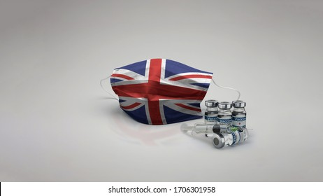 Great Britain flag Medical Mask with Vaccine 3D Rendering