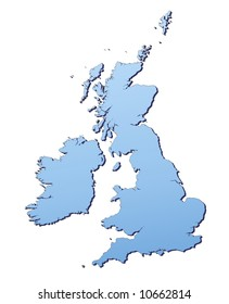 Great Britain map filled with light blue gradient. High resolution. Mercator projection.