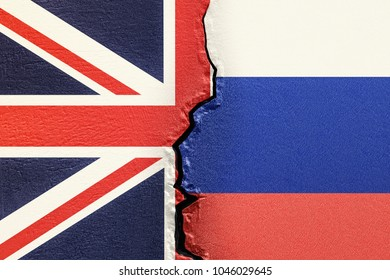 Great Britain and Russia, political conflict concept. 3D rendering