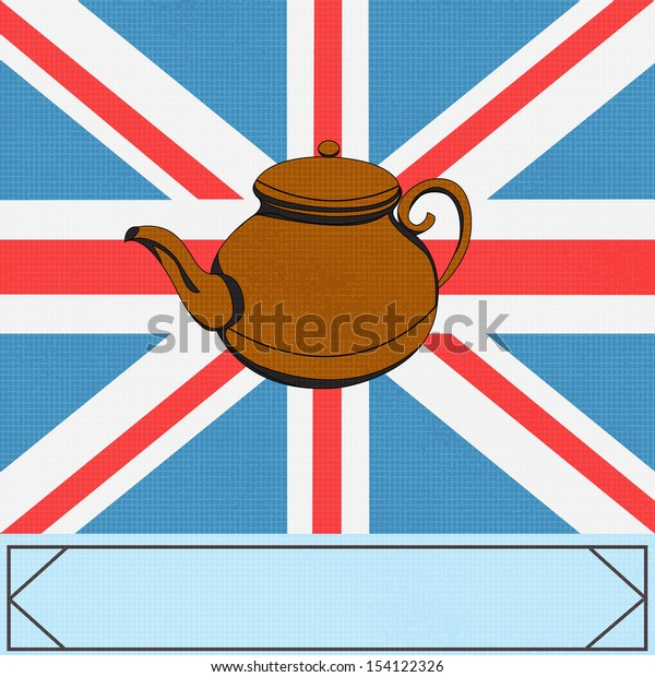The Great British Tea Pot, background with a teapot over a UK Union Jack