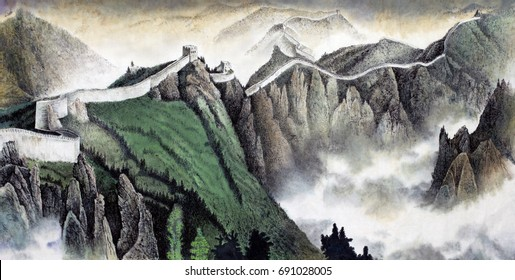 The great Chinese wall painted in Chinese style