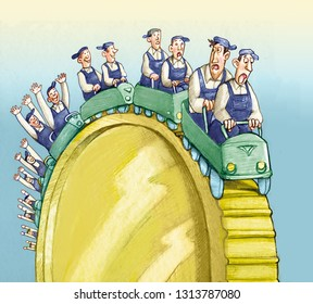great coin becomes the Russian mountain where the workers climb happy to go down frightened political humor cartoon conceptual sociology