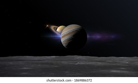 great conjunction of jupiter and saturn seen from one of jupiter moons 3d rendering illustration