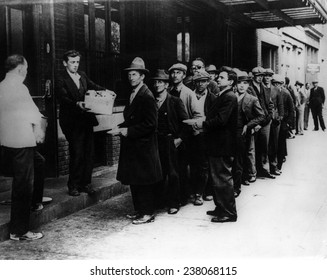 The Great Depression Men line up for free bread and soup 1932