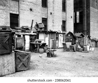 Great Depression Shantytown at West Houston Street New York City