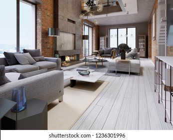 Great design of apartments in a loft style with a brick wall and upholstered furniture and large panoramic windows. 3d rendering