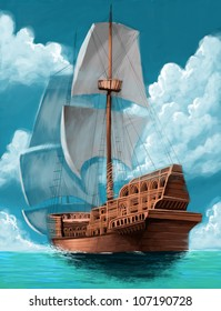 great galleon with open sails in the ocean background