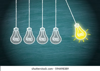 Great Idea, Innovation and Creativity concept with light bulbs on green background
