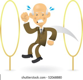 Great illustration of bald senior business man jumping through hoops - difficult tasks and obstacles in business.
