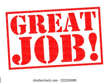 GREAT JOB! red Rubber Stamp over a white background.