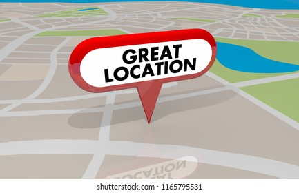 Great Location Spot Place Good Area Map Pin 3d Illustration