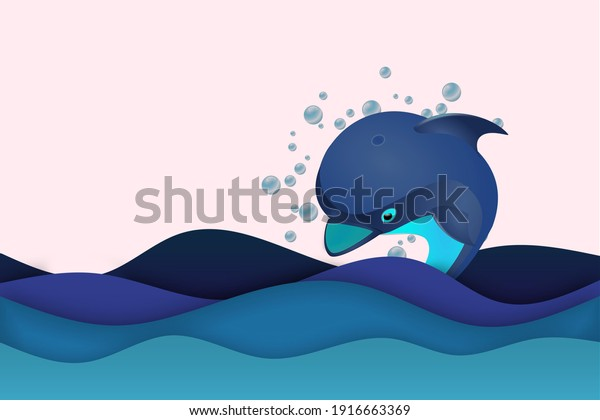 A great looking background and dolphin illustration.