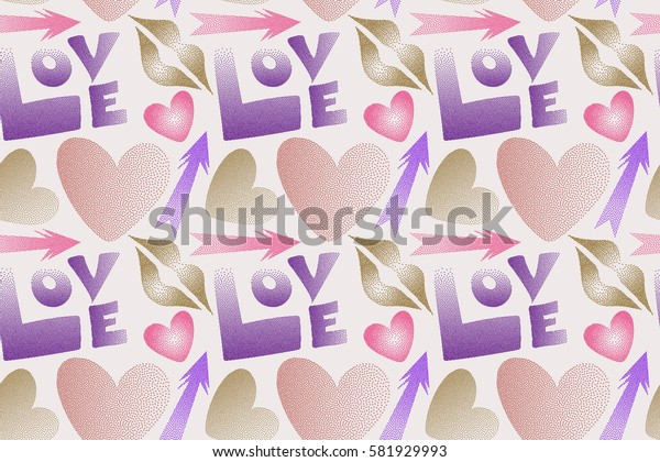 Great multicolored print for poster, cards, textile, printing or fabric. Raster seamless pattern with hand drawn word love, cupid's arrow, lipstick kisses and heart in pink, violet and purple colors.