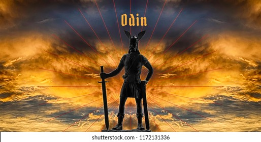 Great mythical figure of Old Norse god Odin with long sword against dramatic sky with stormy clouds and red lines, Odin inscription, Vikings and Norsemen myths theme, panoramic illustration