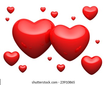 Great number of red hearts on white background