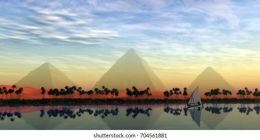 The Great Pyramids and Nile River 3d illustration - The Great Pyramids stand majestically over the Nile River running through the land of Egypt.