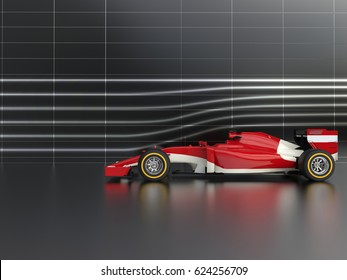 Great red formula racing car in wind tunnel - 3D Illustration
