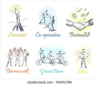 Great success, reliable co-operation, profitable business, friendly teamwork, great team and fruitful idea on white background.  illustrations of concepts constituents of businessman life.