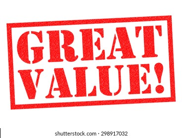 GREAT VALUE! red Rubber Stamp over a white background.