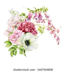 Great watercolor holiday bouquet with roses ,peonies, foxglove, a flower broken heart, anemone. Botanical illustration.