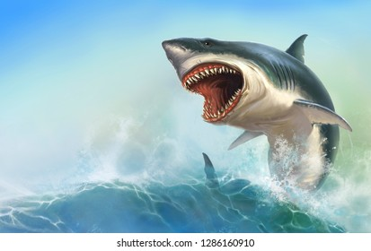 Great White Shark Body on beck realistic isolated.