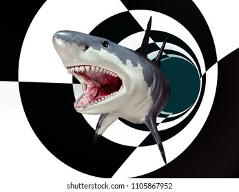 Great white shark in a futuristic environment Computer generated 3D illustration