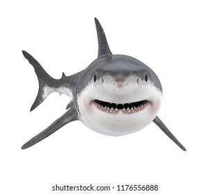 Great White Shark Isolated. 3D rendering
