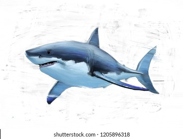 THE GREAT WHITE SHARK OIL COLOR PAINTING