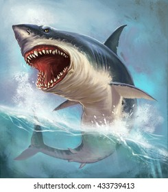 Great white shark on the background of sea waves. Realistic illustration.