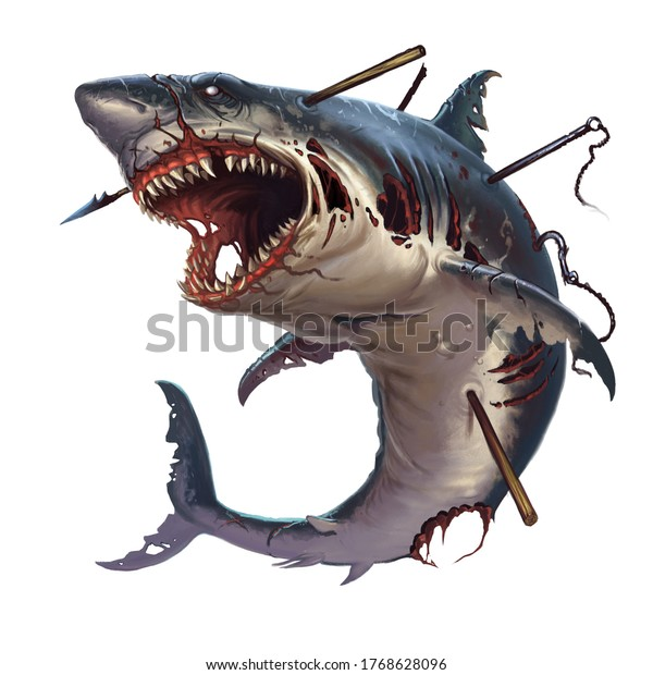Great white shark zombie attacks in a jump. A giant zombie shark attacks jumping out of the sea into Halloween.