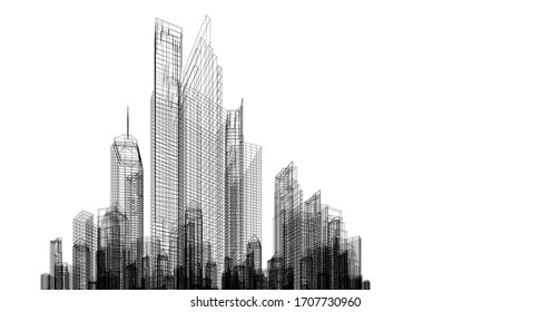 Greater commercial and investment center It is the center of offices, banks, residences, hotels, shopping malls, Sketch 3D illustration.