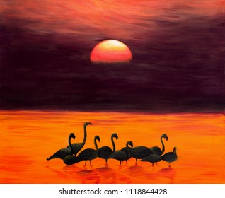Greater Flamingos at Sunrise, acrylic painting