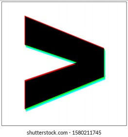 Greater Than Sign. Dynamic, split-color design and black font, blue, green, red shadow. in black thin frame and on white background.