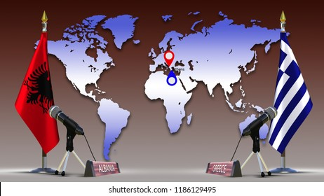 Greece and Albania flags negotiate and talking speech Greek Albanian flag on metal rack with microphone Sign of country name on World map background with mark capital Bilaterial talks 3d illustration