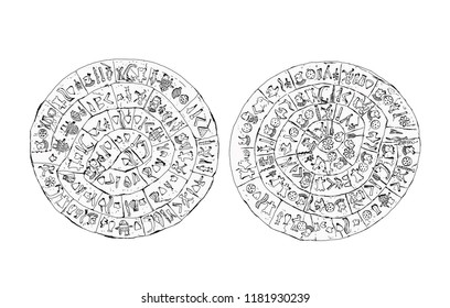 Greece, Crete. Phaistos ancient disk sketch with detailed symbols